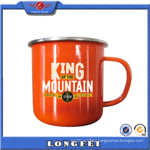2015 China Wholesale Logo Printing Cheap Enamel Metal Cup