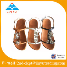 Sandale plate en dentelle 2015 avec des perles pour vêtements décontractés