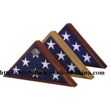 Nuevo caso de exhibición de madera de la bandera para la decoración casera