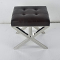 Modern Ottoman Soft Cushion Metal Base Stool For Bedroo