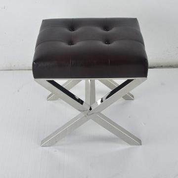 Modern Ottoman Soft Cushion Metal Base Stool For Bedroo