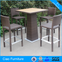 High Bar Furniture Set Rattan Table And Bar Stool