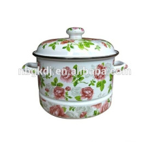 European flower enamel high steamer with full decal
