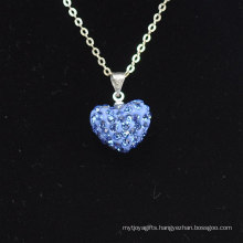 Wholesale Heart Shape New Arrival Light Blue Crystal Clay Shamballa With Silver Chains Necklace