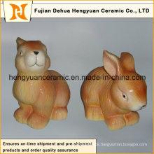 Tierförmiges keramisches Handwerk, keramisches Kaninchen für Ostern-Dekoration