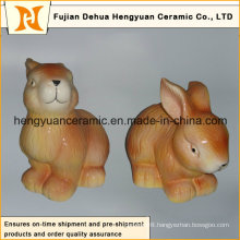 Animal Shaped Ceramic Craft, Ceramic Rabbit for Easter Decoration