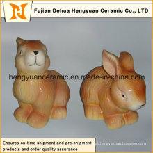 Animal em forma de artesanato de cerâmica, coelho de cerâmica para decoração de páscoa