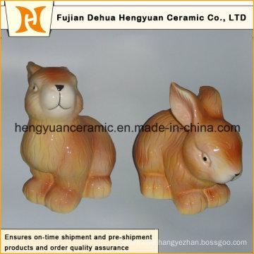 Animal Shaped Ceramic Craft, Ceramic Rabbit for Easter Decoration