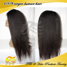 Best selling un processed human hair kinky straight silk base wig