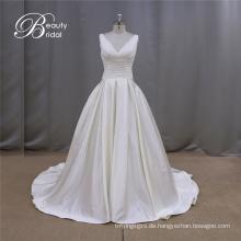 Einfache Rüsche Gridal Abendkleider a-line färben Brautkleid