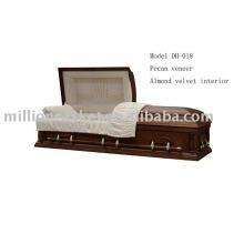 Funeral de caixão de madeira de folheado de nozes fornece vendas por atacado
