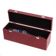 Caixa de couro vermelho PU vinho caso (HX-W2948)