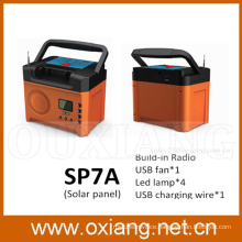 mini solar home lighting system / portable DC solar system with FM Radio