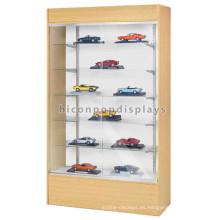 Vidrio de la puerta deslizante de la calidad y exhibición de madera para los juguetes, modelo de la escala
