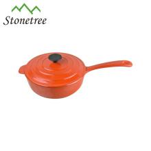 Olla de cocción de hierro fundido con esmalte blanco con mango, ollas de cocina de hierro fundido esmaltado, utensilios de cocina Cocotte