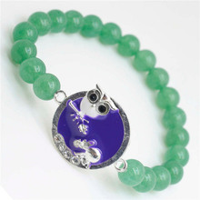 Green Aventurine Gemstone Bracelet with Diamante alloy Sheep Piece