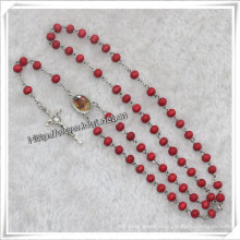Red Scented Wooden Beads Rosary with Picture (IO-cr324)