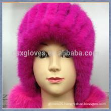 Smart Pink Mink Fur Cap With Solid Spheres
