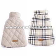 Reversible British style Plaid Dog Vest Winter Coat