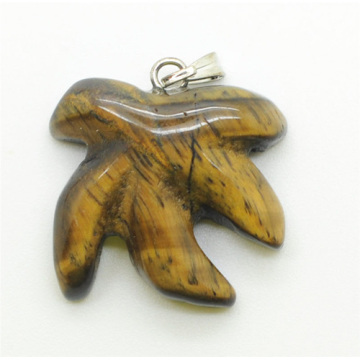 Maple Leaf Shape Yellow Tiger eye pendant