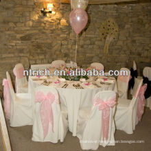 Thick fabric polyester chair cover with crystal organza sash