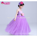 Purple color elegant floral patterned ruched floor length children girl 7th birthday party dress with lace top
