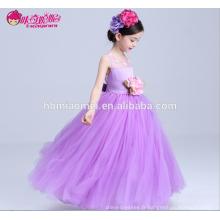 Violet couleur élégante à motifs floraux ruché étage longueur enfants fille 7e anniversaire robe de soirée avec top en dentelle