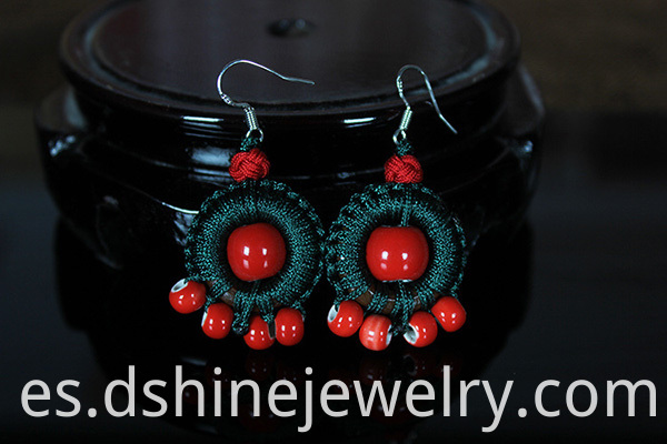 Ceramics Beads Silver Hook Earring