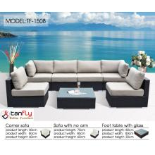 Easy-care rattan outdoor garden sofa set with contemporary Scandinavian appeal.