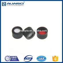 Bouchon supérieur en acier inoxydable noir de 13 mm Bouchon avec tampon en PTFE blanc / rouge en silicone pour le flacon hplc