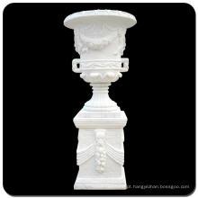 Grande vaso de cinzeladura de pedra de mármore branco para jardim