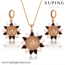 62803 xuping 18k Gold Plated Latest design of Summer Sunflower Shaped Jewelries Set
