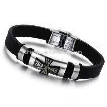 2015 nova jóia coreana atacado nova moda jóias requintado glamour meninos pulseira de silicone de aço de titânio PH803