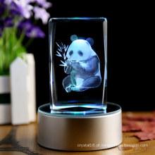 Artesanato de cristal com animais da panda da gravura do laser 3D