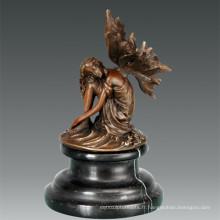 Mythologie Bronze Sculpture Fleur Décor de fée Statue en laiton TPE-809