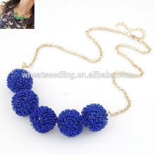 Popular blue shamballa rhinestone ball shamballa necklace