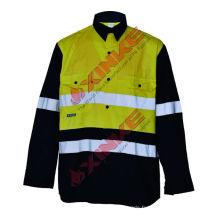 100 chemises de travail protectrices UV jaunes de coton