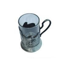 Copo de vidro de técnica chapeada com suporte de metal