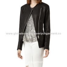 Women's leather jacket with round neck