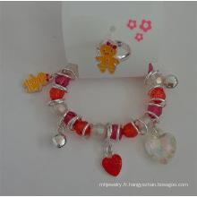 Set de Bracelet coeur & Animal élastique et anneau