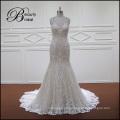 Champagner volle Spitze Mermaid ausgestattet Rückenfreies Hochzeitskleid