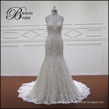 Sirena de Champagne cordón equipado vestido de novia sin espalda