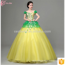 Latest Design Bride Gorgeous Yellow Lace Appliqued Strapless Floor Length Tulle Puffy Ball Gown Yellow Wedding Dress