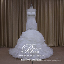 sweetheart organza wedding dress mermaid, beading bridal dress 2017