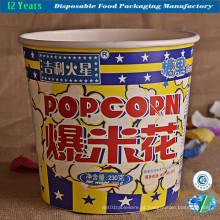 Popcorn balde em impressão de destaque