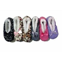 Women's Bowknot Fleece Comfortable Sock Slippers Dotted Sole