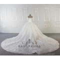 Wholesale luxury off shoulder wedding dresses with long train ball gown