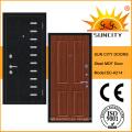 Puerta del MDF de la armadura de acero de la seguridad de madera de la chapa del estilo de Rusia (SC-A214)