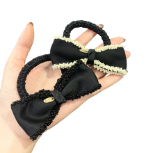 Korean Fabric Black Bow Knot Hair Tie Elastic Band Ring Cute Girl Ponytail Head Rope Rubber Female Fashion Accessories