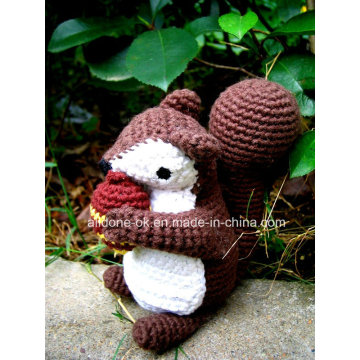 Mão Knit Crochet Plush Amigurumi boneca Stuffed Toy Esquilo